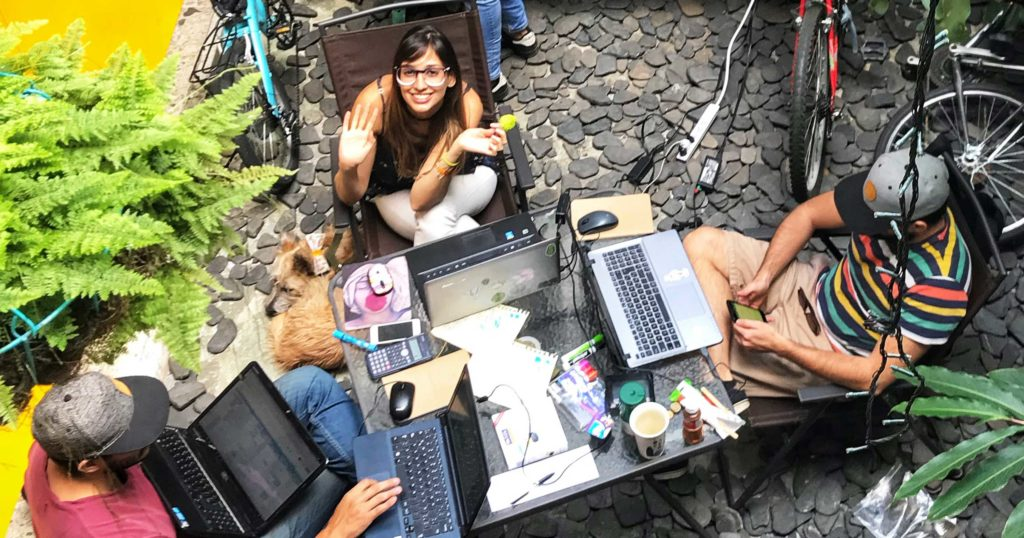 remote workers relaxing in Medellin