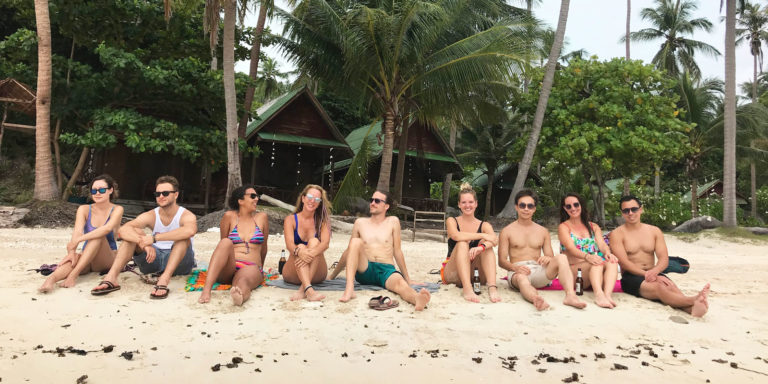 Hacker Paradise Participants relaxing on a beach in Thailand