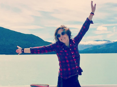 Remote worker designer from Texas at glaciers in Argentina