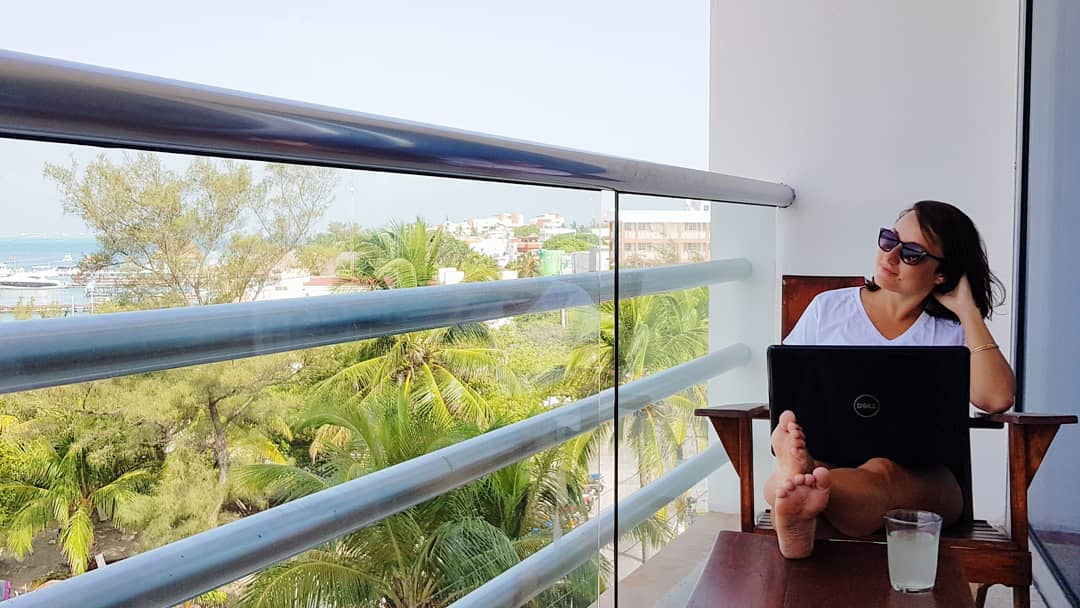 remote worker enjoying tropical view